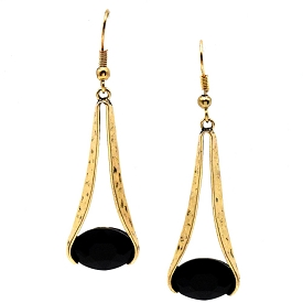 COE7218 Black Oval Gemstone Dangle Earrings Brass-Gold