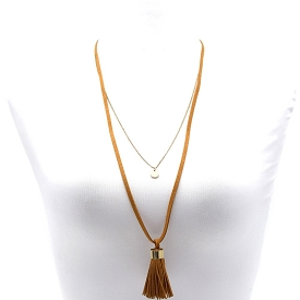 CWN0416 Double Layer Tassel Accent Long Necklace Camel