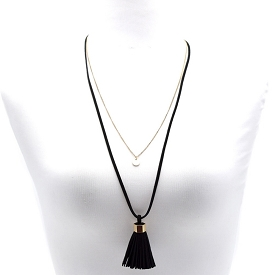 CWN0416 Double Layer Tassel Accent Long Necklace Black