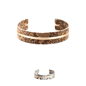 CB1734 Metal Accent Snake Print Leather Open-cut Bangle Bracelet