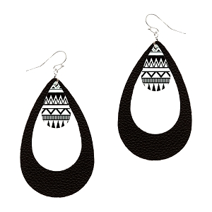 CE1161 Acrylic Tribal Print Charm Open Cut Leather Teardrop Earring RDBLK