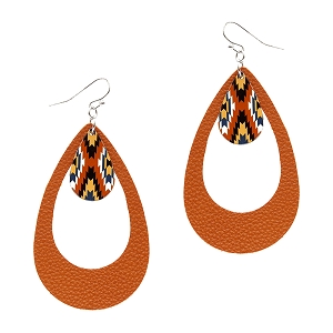 CE1161 Acrylic Tribal Print Charm Open Cut Leather Teardrop Earring RDBRN