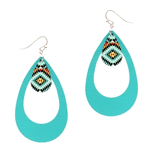 CE1161 Acrylic Tribal Print Charm Open Cut Leather Teardrop Earring RDTQS