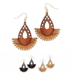 CE1226 Carved Wood Leather Tassel Naturalistic Earring