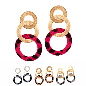 CE1291 Leopard Print Leather Metal Ring Linked Earring
