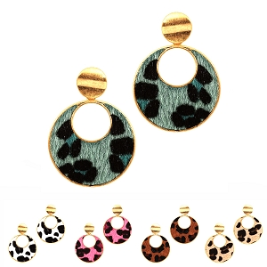 CE1314 Leopard Print Leather Open-cut Round Post Earring