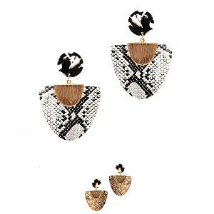 CE1938 Snake Print Leather Acrylic Metal Accent Post Earring