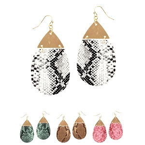 CE1992 Metal Top Snake Print Leather Teardrop Large Earring
