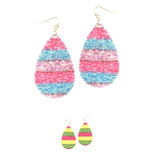 CE2295 Multicolored Neon Glitter Oversized Teardrop Earring