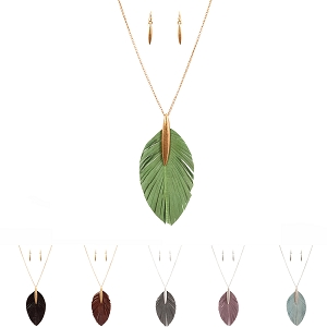 CS1712 Metal Eelskin Feather Leather Pendant 34 Necklace SET