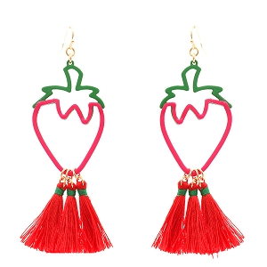 EE0808 Color Block Metal Thread Strawberry Novelty Earring GDRED