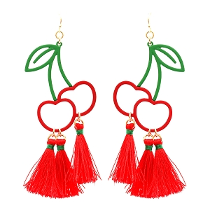 EE0812 Metal Cherry Theme Thread Novelty Earring GDRED