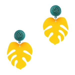 EE0815 Color Block Leather Metal Leaf Post Earring GDYEW