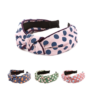FD0015 Polka Dot Print Knotted Headband