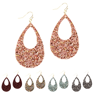 FE3497 Glitter Embellished Open-Cut Tear Drop Earring