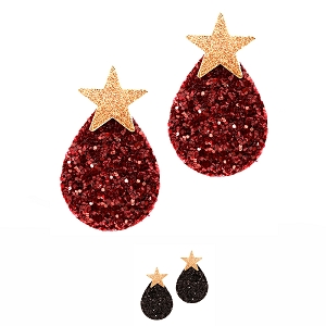 FE3555 Glittery Leather Teardrop Star Metal Post Earring