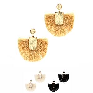 FE3625 Straw Accent Tread Tassel Bohemian Earring