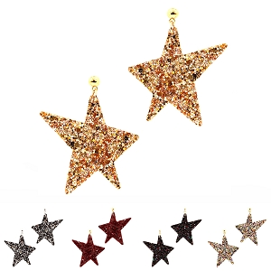 FE3629 Glitter Star Pendant Fish Hook Earring