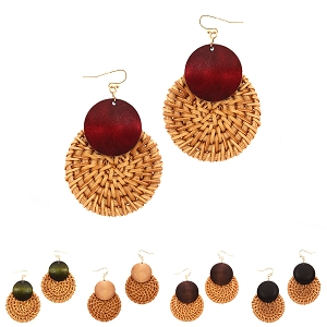 FE3665 Wood Accent Round Straw Earring