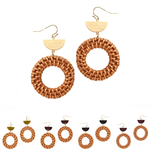 FE3666 Bamboo Straw Open-cut Round Acrylic Earring
