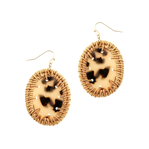 FE3883 Straw Trim Leopard Print Acrylic Oval Post Earring