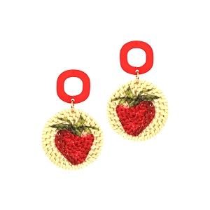 FE3891 Strawberry Print Straw Acrylic Post Novelty Earring Red