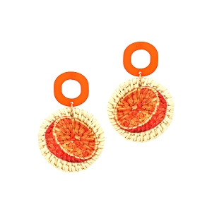 FE3892 Orange Print Straw Acrylic Post Novelty Earring