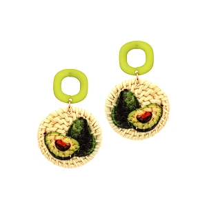 FE3893 Avocado Print Straw Acrylic Post Novelty Earring Green