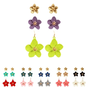 FE4131 Rhinestone Color-coated Metal Epoxy Flower Earring 3 Pair SET