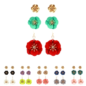 FE4132 Rhinestone Color-coated Metal Epoxy Flower Earring 3 Pair SET