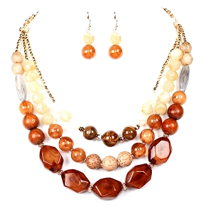 FS2025 Acrylic Bead Wood Layered Statement Necklace SET GDBRN