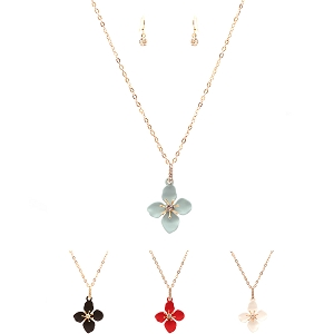 FS2124-1 Rhinestone Embellished Metal Flower Pendant Necklace SET GDBLK