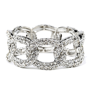 NB0325 Rhinestone Embellished Linked Metal Chain Elastic Bracelet RDCR