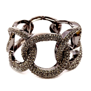 NB0326 Rhinestone Embellished Thick Linked Metal Chain Elastic Bracelet BNBD