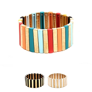 PB0905 Color-coated Pinstripe Elastic Bracelet