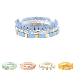PB0910 Color-coated Metal Bead Lego Block Layered Bracelet