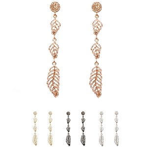 VE1657-1 Crystal Rhinestone Metal Leaf Long Drop Earring