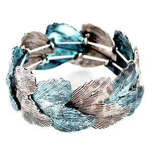 XB1179 Textured Leaf Shape Metal Bracelet OMT