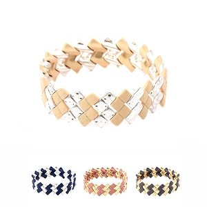 XB1276 Color-coated Metal Bead Layered Elastic Bracelet