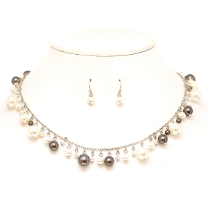 XS0802 Plastic Pearl Necklace SET RDGRY