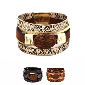 ZB1301 Snake Print Wood Layered Leather Wrap Bracelet