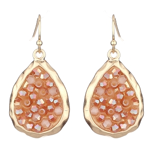 ZE0718 Glass Druzy Metal Fish Hook Hammered Teardrop Earring Gold/Peach