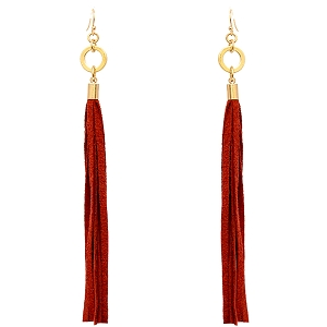 ZE1380 Metal Ring Long Leather Fringe Earring WGBND