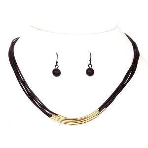 ZS0168 Metal Accent Layered Necklace Set Brown/Gold
