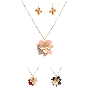 ZS0996-1 Metal Flower Charm Layer Leather Flower Necklace SET GDBNW
