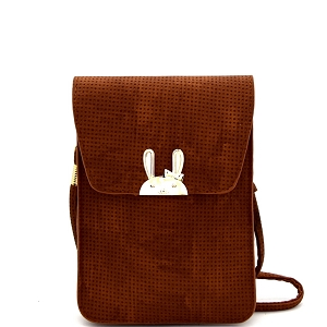 DF202A Hardware Rabbit Accent Cellphone Holder Cross Body  for All Sizes Tan