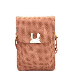 DF202A Hardware Rabbit Accent Cellphone Holder Cross Body  for All Sizes Pink