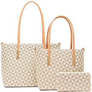 007-8233W Monogram Print Classy 3 in 1 Tote Wallet SET Taupe