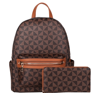 007-8578W Monogram Print Classy Backpack Wallet SET Brown