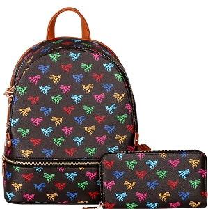 BE2-7285W Monogram Print Classy Backpack Wallet SET Black